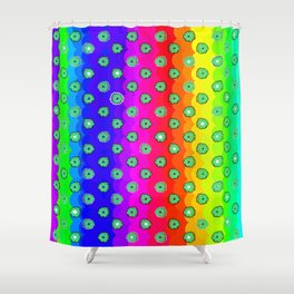 Rainbow and green flowers Shower Curtain