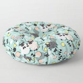 Mééé Memphis sheep // mint background Floor Pillow