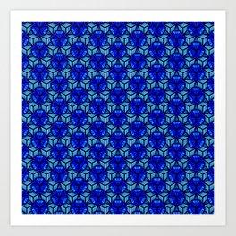 Deep Blue Sea Bell Flower Geometric Blue Under the Sea 3D Design Spirit Organic Art Print