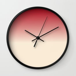 Antique White and Christmas Red Gradient Colors Wall Clock