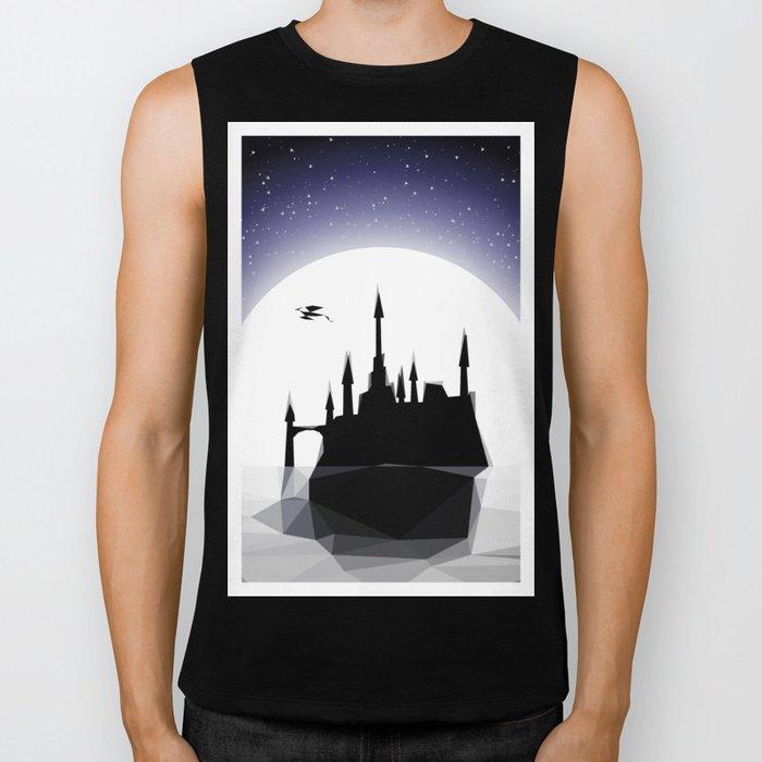 Moonlight Stanza - Night Sea, Castle & the Moon Biker Tank