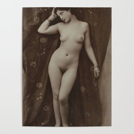 Victorian Vintage Posing Lady Erotic French Nude Postcard Poster