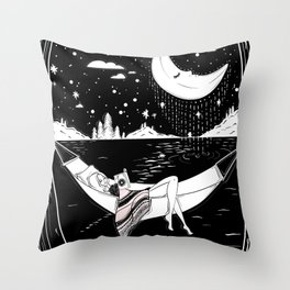 Reading in the Moonlight Throw Pillow