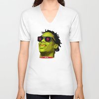 lv V-neck T-shirts featuring LV FLVME DROP$ 1.o by kamikvze