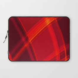 Smooth red curved lines with bright luminous nets of intersecting stripes.  Laptop Sleeve