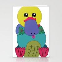 platypus Stationery Cards featuring Rainbow Platypus by Joy Deits
