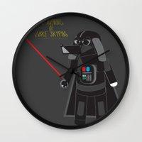 labrador Wall Clocks featuring Dart Labrador by Luke Skypug