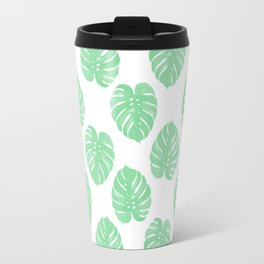 Palm Leaf tropical monstera house plant hipster mint and white home decor college dorm Travel Mug