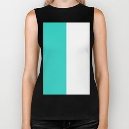 White and Turquoise Vertical Halves Biker Tank