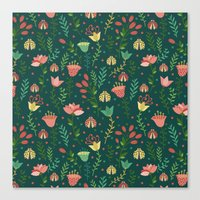 floral pattern Canvas Prints featuring Floral pattern by Julia Badeeva