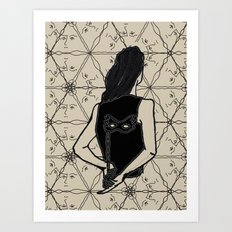 woman holding mask in back Art Print