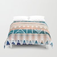 native Duvet Covers featuring Native by Sophie Kurtness