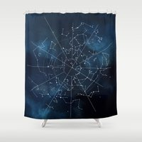map Shower Curtains featuring Celestial Map by Rose's Creation