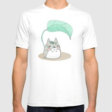 Floral Totoro Mens Fitted Tee MEDIUM White