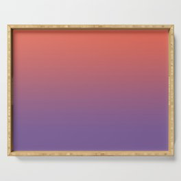 Pantone Living Coral & Chive Blossom Purple Gradient Ombre Blend, Soft Horizontal Line Serving Tray