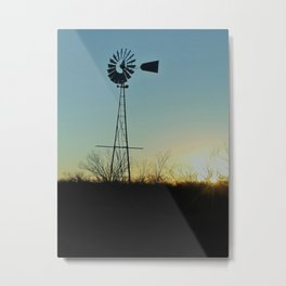 Sunset Glow On Windmill Metal Print