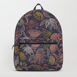 Bohemian Florals in Blue + Coral Backpack