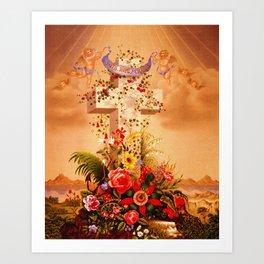 Faith Hope Charity - Christian Cross Art Print