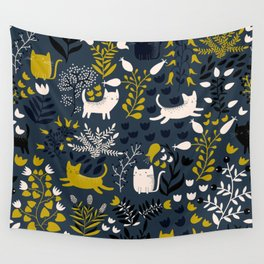 Cats and Flowers Pattern Wall Tapestry