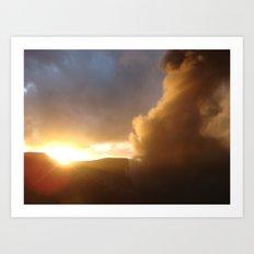 Sunset over a erupting volcano Art Print