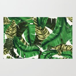 Swaying banana leaf palm green Rug