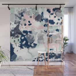 Melia - abstract minimal painting acrylic watercolor nursery mint navy pink Wall Mural