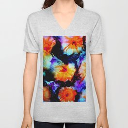 Colorful Abstract Flower Painting Orange Purple Black Unisex V-Neck