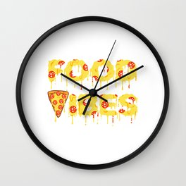 """Good Vibes"" Food Shirt For Snack Lovers Pepperoni Mushroom Meatballs Cheese Oven Foodporn Bake Wall Clock"