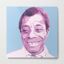 James Baldwin Portrait Blue Purple Metal Print