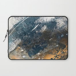 Wander [4]: a vibrant, colorful, abstract in blues, white, and gold Laptop Sleeve