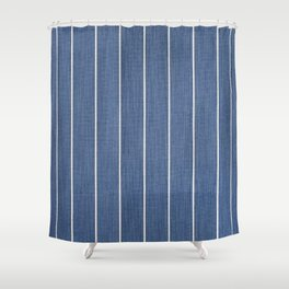 Denim Blue with White Pinstripes Shower Curtain