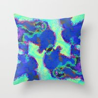 watercolour Throw Pillows featuring WATERCOLOUR by IZZA