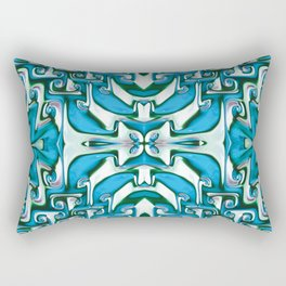 Blue and White Spiral Bends Rectangular Pillow