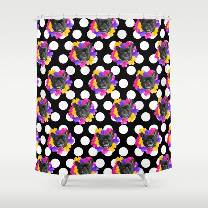 Frenchies and Pansy Dots Shower Curtain by umeimages | Society6