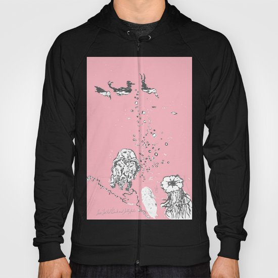 Two Tailed Duck and Jellyfish Baby Pink Deep Hoody