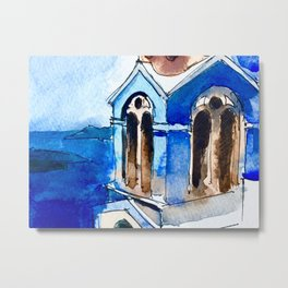 Blue Chapel Santorini Greece Metal Print