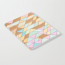 Triangle Pattern No. 25 Gold Pink Turqouise Notebook