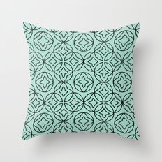 Ancient Pattern Illustration in Blue Throw Pillow