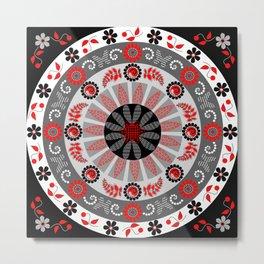 Flowers and Butterflies with trendy patters Mandala Metal Print