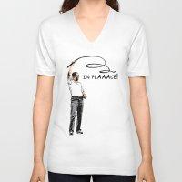 obama V-neck T-shirts featuring Obama by Valentina