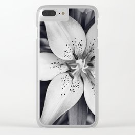 Black and White Lily Flower Photography, Grey Floral Art, Lillies Photo, Grey Lilly Nature Print Clear iPhone Case