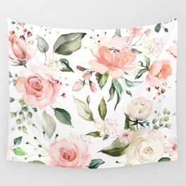 Watercolor Pink Peonies, Pink and White Roses and Greenery Wall Tapestry