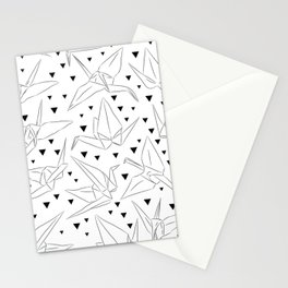 Japanese Origami white paper cranes sketch, symbol of happiness, luck and longevity Stationery Cards