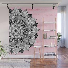Artistic Boho Hand Drawn Mandala on Pink Tie Dye Wall Mural