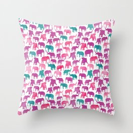 Watercolor Elephant Stampede Pretty Pattern Throw Pillow