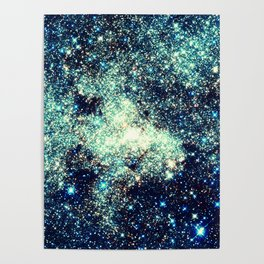 gAlAxY Stars Teal Turquoise Blue Poster