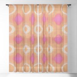 Hot Pink Orange White Fusion Circle Pattern Sheer Curtain