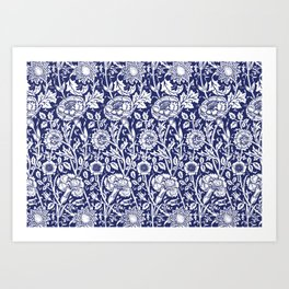 "William Morris Floral Pattern | ""Pink and Rose"" in Navy Blue and White Art Print"