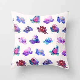 Jewel turtle - pastel Throw Pillow