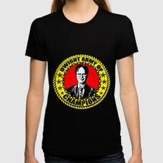 Dwight Schrute (Dwight Army Of Champions) SMALL Womens Fitted Tee Black